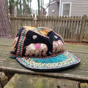 Vintage Sequin Thai Elephant Baseball Hat